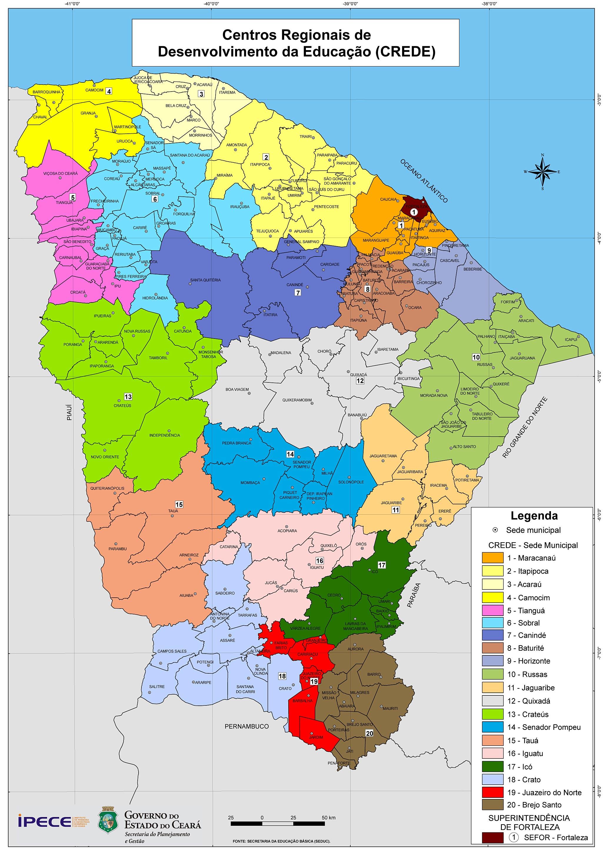 Cear em Mapas  116 Regionalizao Proposta IPECE  2006