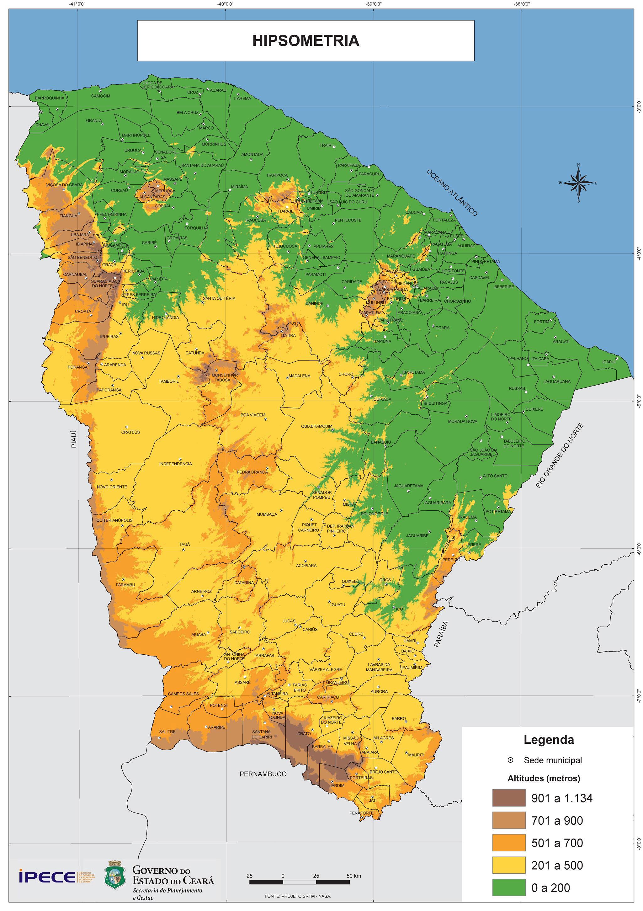Ceará em Mapas - 1.2.3 Hipsometria